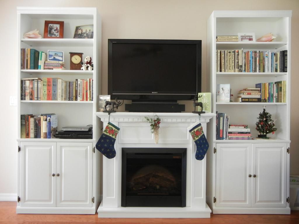 Electric Fireplace surrounded by bookcases. (from review ...