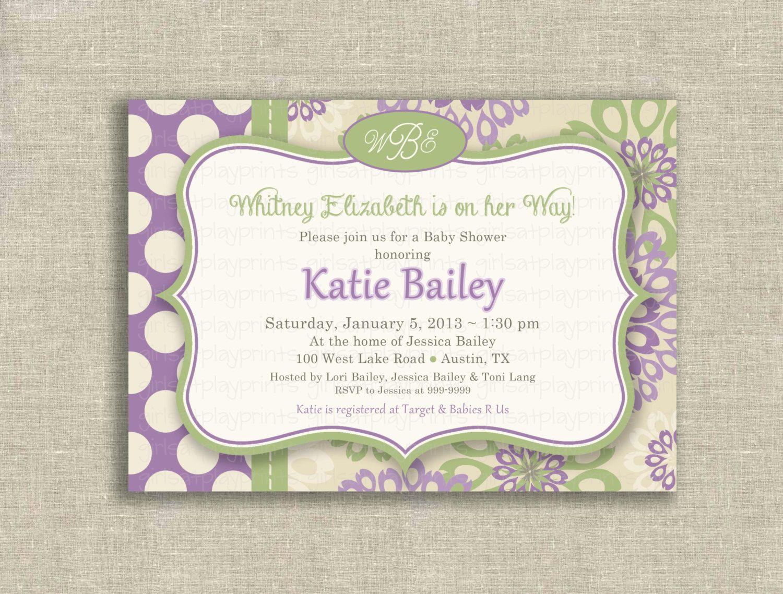 Girl baby shower invitations purple baby girl shower invitation girl baby shower invitations purple baby girl shower invitation vintage monogram purple lilac sage green filmwisefo