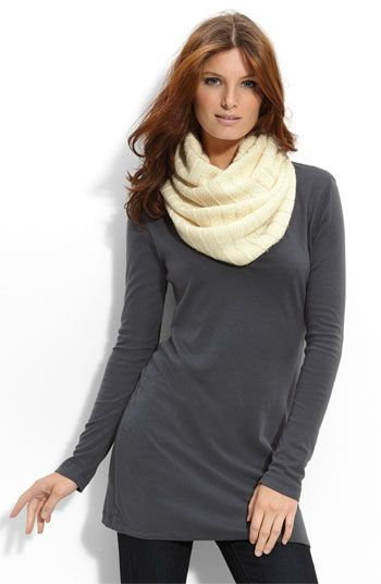 """Cozy rib-textured scarf is sprinkled with tonal sequins for just a touch of shine and styled in one continuous loop.        Approx. width: 18"""".      Approx. inner circumference: 48"""".      Wool/polyester/viscose rayon/nylon; dry clean.      By Juicy Couture; imported."""