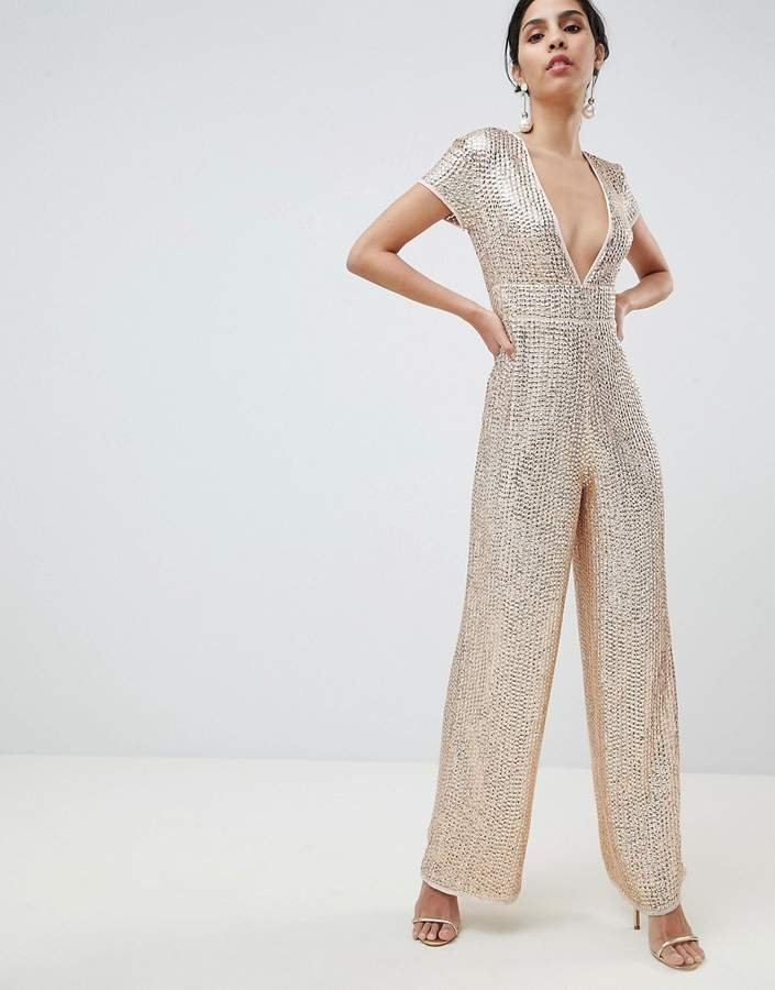 0e190bf4f4107 DESIGN Embellished Plunge Jumpsuit With Wide Leg in 2019 | oooooh ...