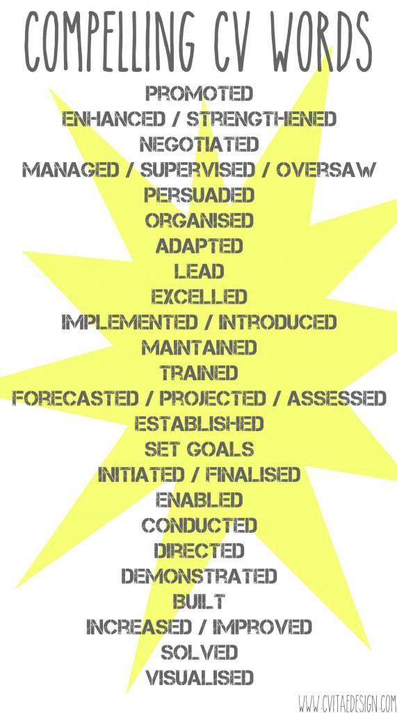 Compelling CV Wording Text Resumé Writing Power Words   Life hacks ...
