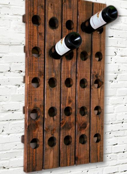 Rustic Wine Rack Riddling Style Wall Hanging Wood Wine