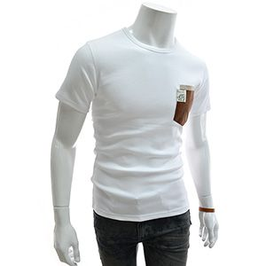 (GTS03-WHITE) Slim Fit Leather Patched Double Pocket Round Neck Short Sleeve Tshirts