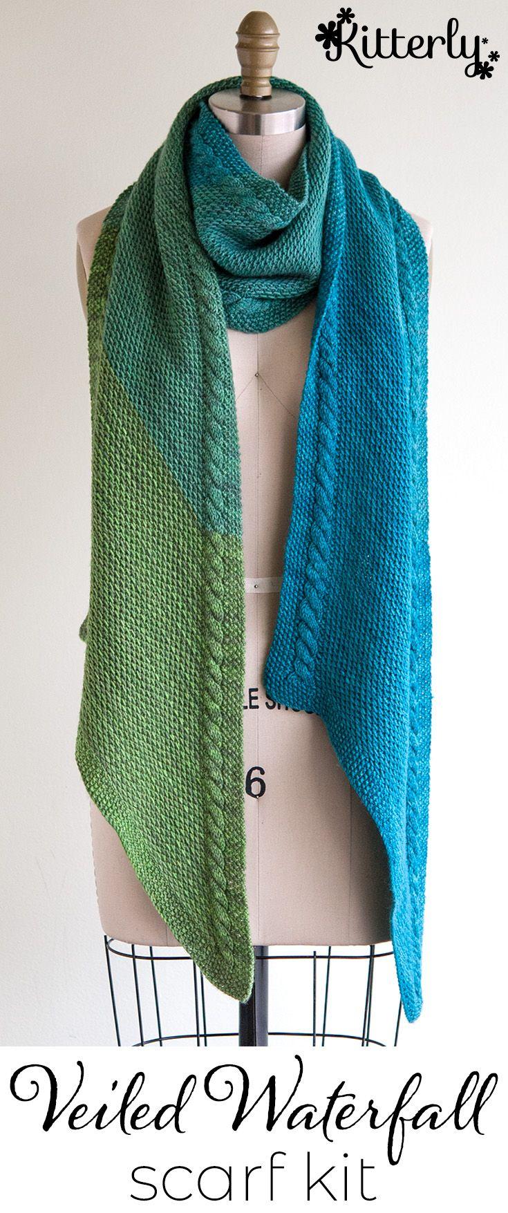 Wonderland Yarns Veiled Waterfall Shawl Kit - Pattern Free With Kit ...