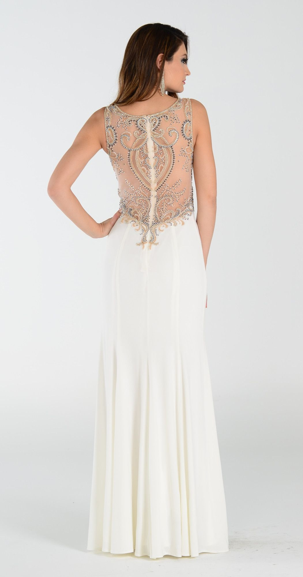 Fully beaded sheer open back long fitted prom dress ivory