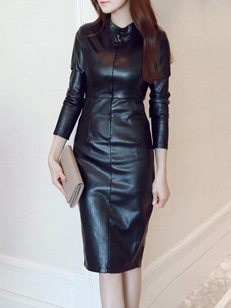 Sku 8fbbac87a178 Material Faux Leather Collar Amp Neckline Band Collar Sleeve Long Sleeve Pattern Bodycon Dress Leather Bodycon Dress Body Con Dress Outfit [ 1200 x 900 Pixel ]