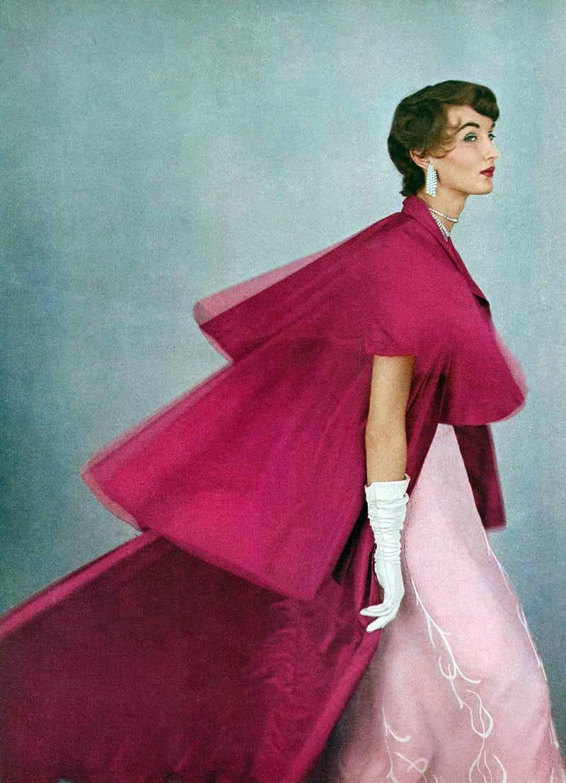 Vogue, June 1953 - Photographer: Richard Rutledge - Model: Evelyn Tripp - Evening gown & coat by Mainbocher