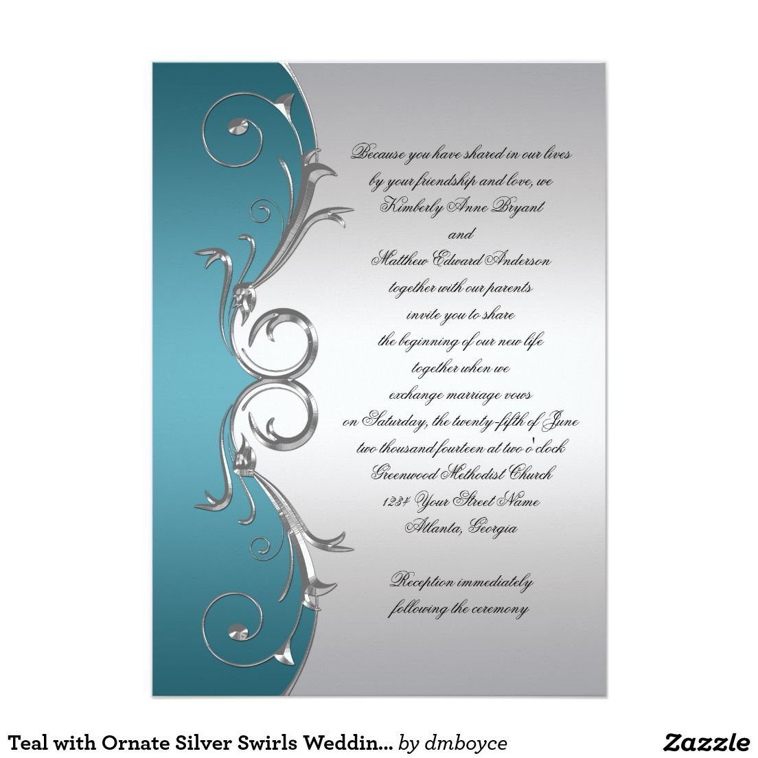 Celebrity Wedding Invites: Teal With Ornate Silver Swirls Wedding Celebration