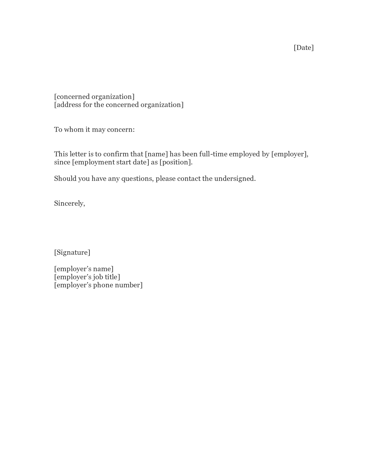 employment proof letters template employment proof letters