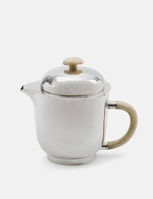 A rare Bauhaus silver coffee pot and cover Bauhaus