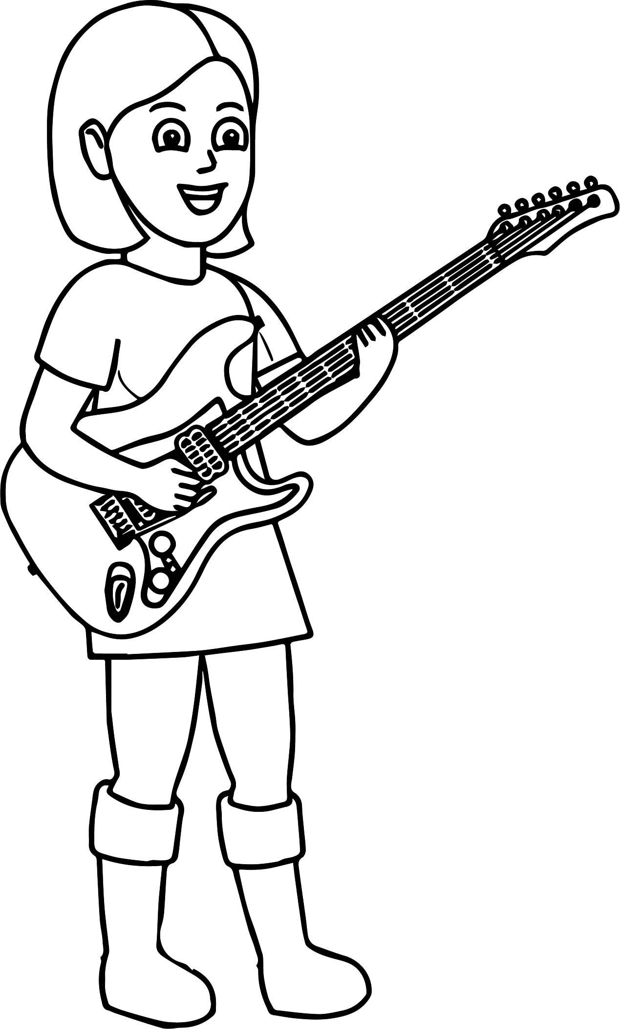 Nice Kids Playing Music Girl The Guitar Coloring Page