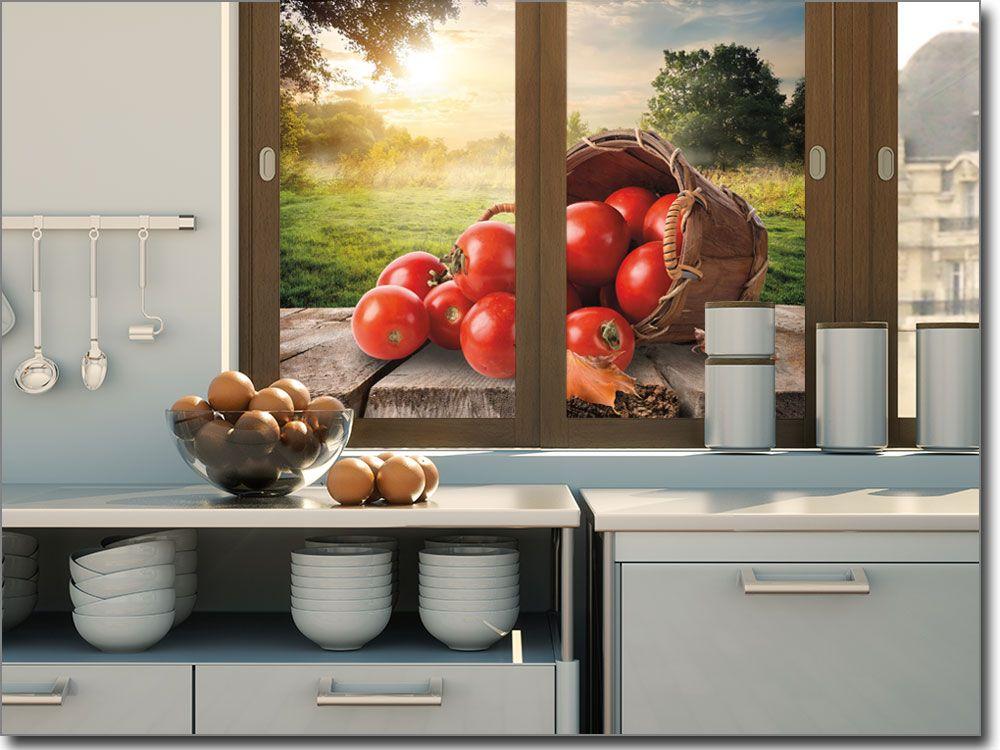 selbstklebende Fensterfolie mit Tomaten Fotofolien für die Küche - glasbild für küche