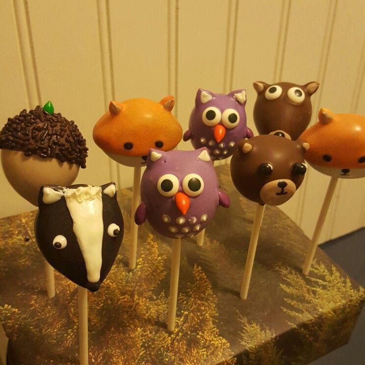12 Blue Woodland Owl Cake Pops - for baby shower, gender ... |Woodland Cake Balls