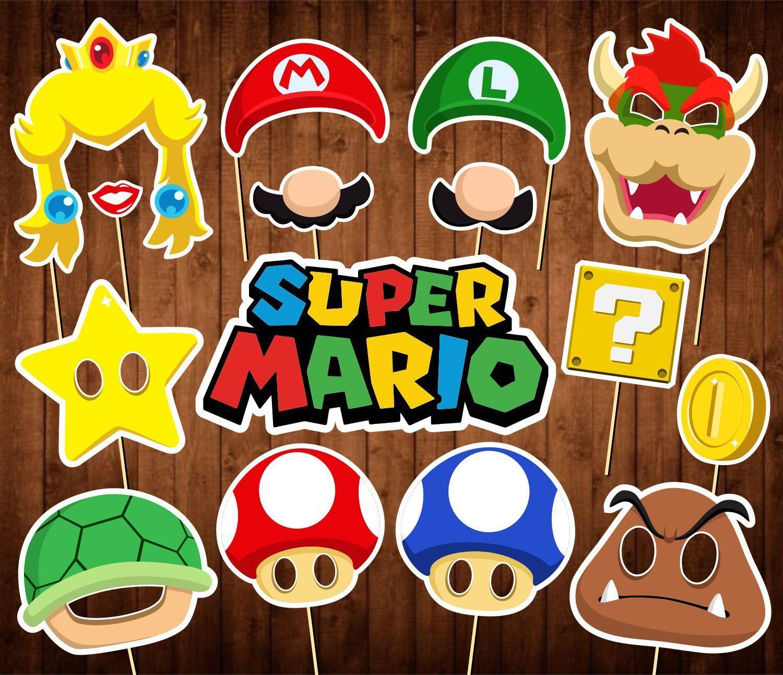 Super Mario Photo Booth Props Printable Pdf Mario Party Etsy Super Mario Bros Party Super Mario Birthday Party Mario Birthday