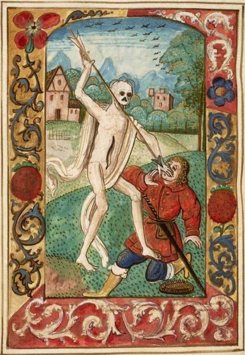 The Hague, KB, 130 E 4, f. 170v (Death attacking a man).  Book of Hours.  South Holland; c. 1460-1480. Inserted miniature: Delft; c. 1480-1490. Added miniatures: Northern Netherlands(?); c. 1500-1520