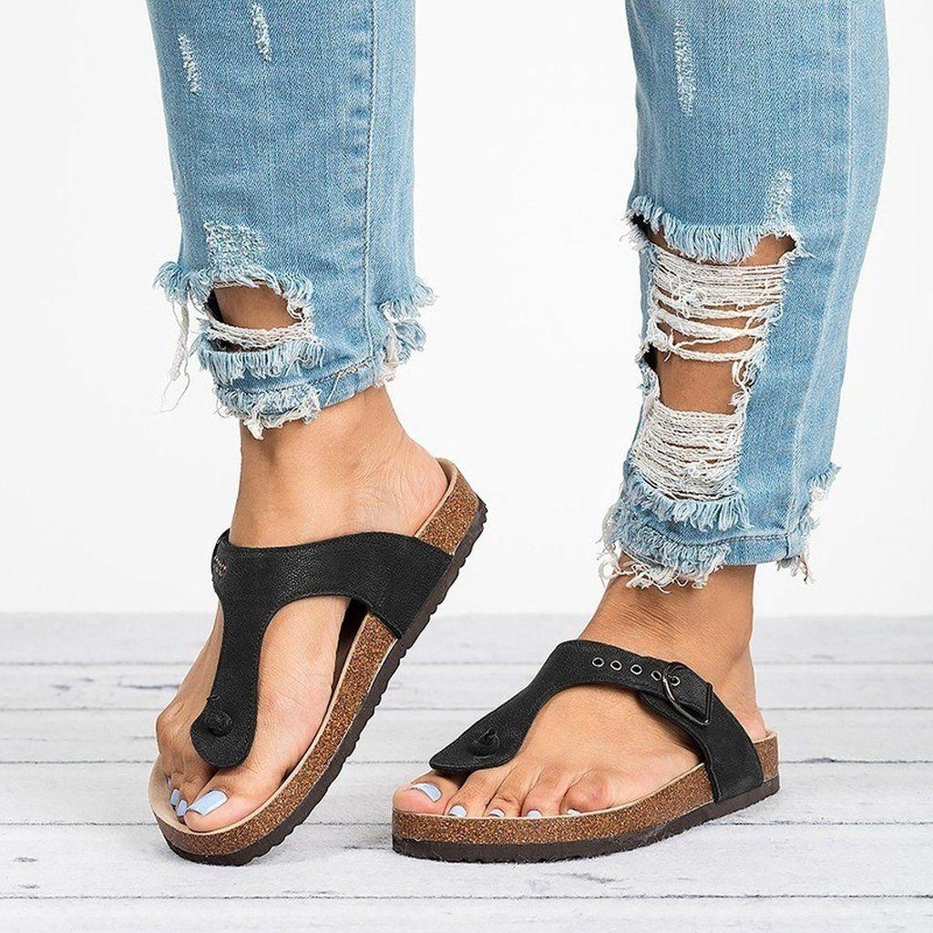 28f1653d1b445 Women s Fashion Flip Flops Shoes Casual Style Flat Open Toe Sandals Lady Comfortable  Beach Shoes Slipper