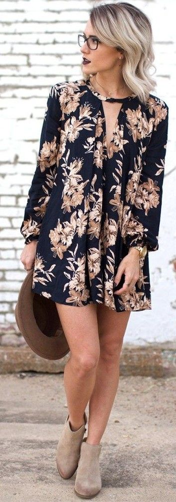 #casual #outfits #spring #style #inspiration | Black floral little dress                                                                             Source