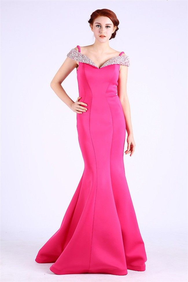 Mermaid Off The Shoulder Hot Pink Satin Beaded Occasion Prom Dress ...