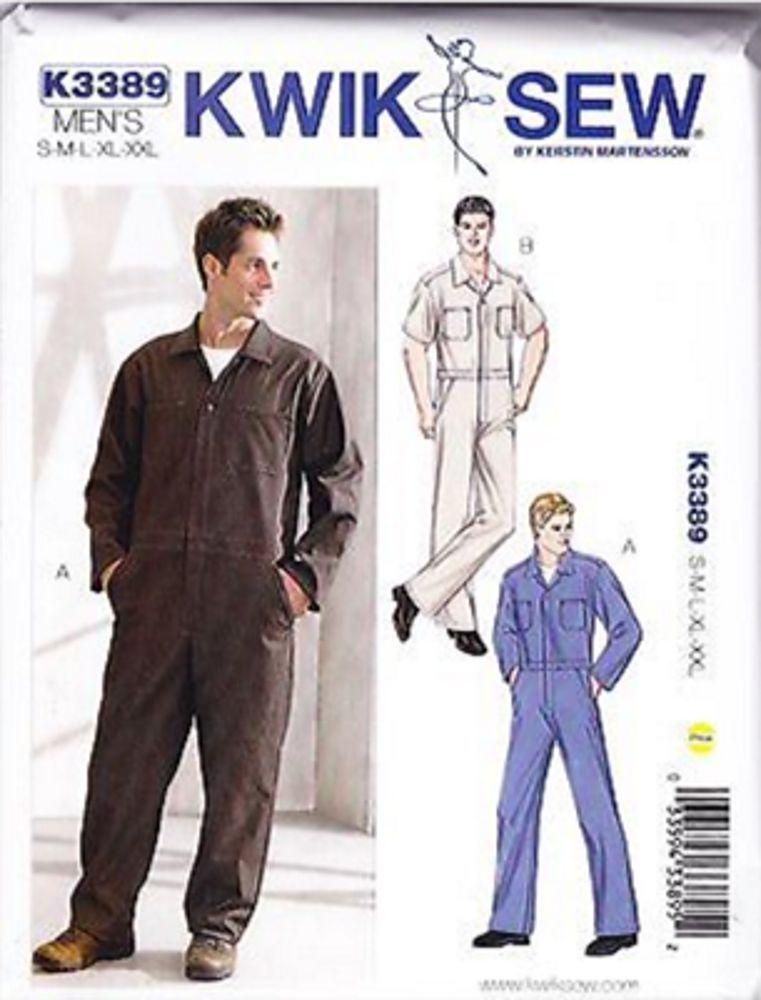 Kwik Sew K3389 34-52 Sewing Pattern Men\'s Coveralls Jumpsuit ...