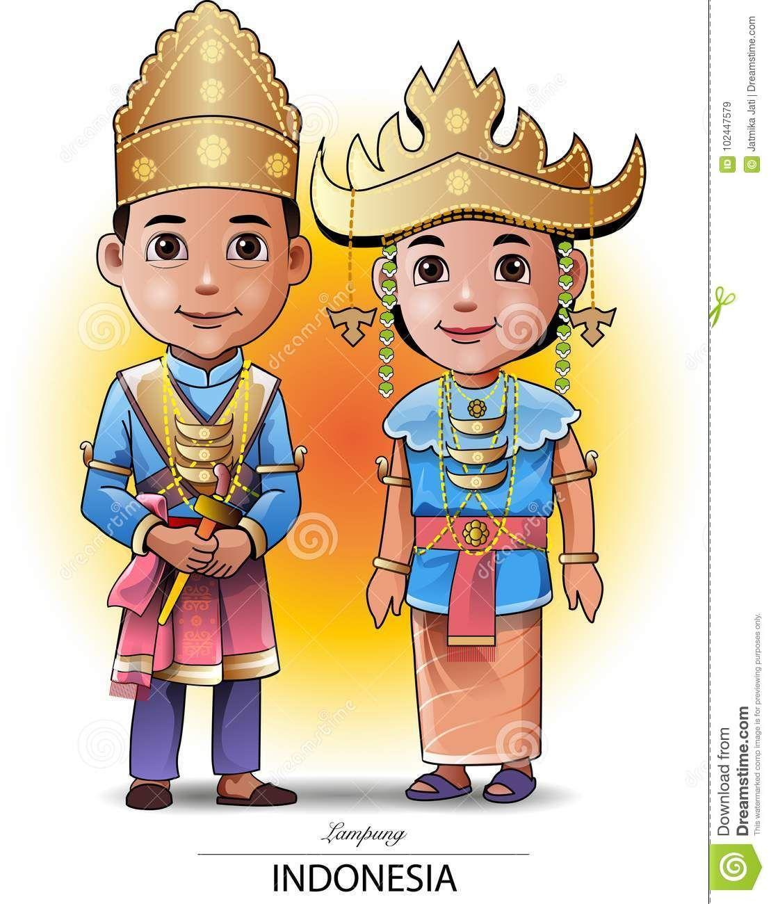 Gambar Kartun Pakaian Adat Palembang