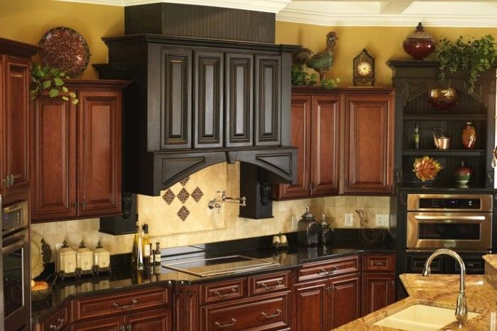 Providence Newcastle In Sable Coffee Finish Custom Range Hood In Aged Ebony F Decorating Above Kitchen Cabinets Kitchen Cabinets Decor Above Kitchen Cabinets
