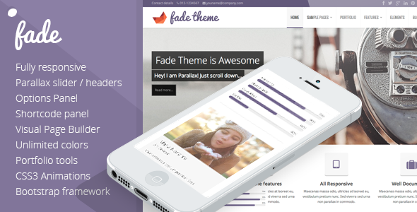 See More Fade - Responsive, Parallax Bootstrap Themeyou will get best price offer lowest prices or diccount coupone