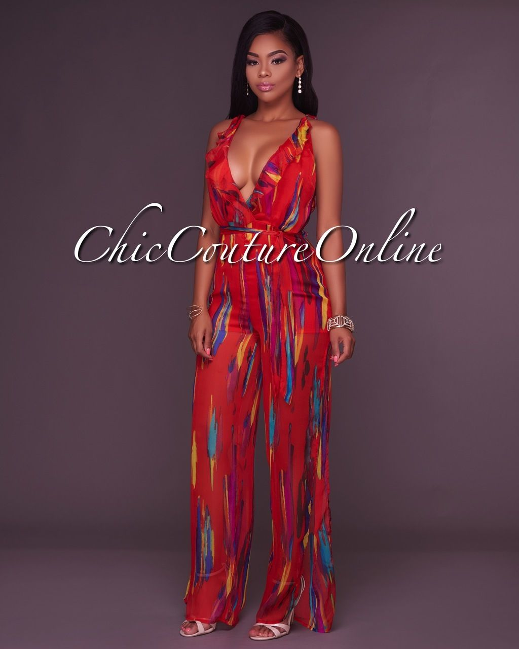 Chic Couture Online - Janine Deep V Red Printed Slit Legs Jumpsuit ...