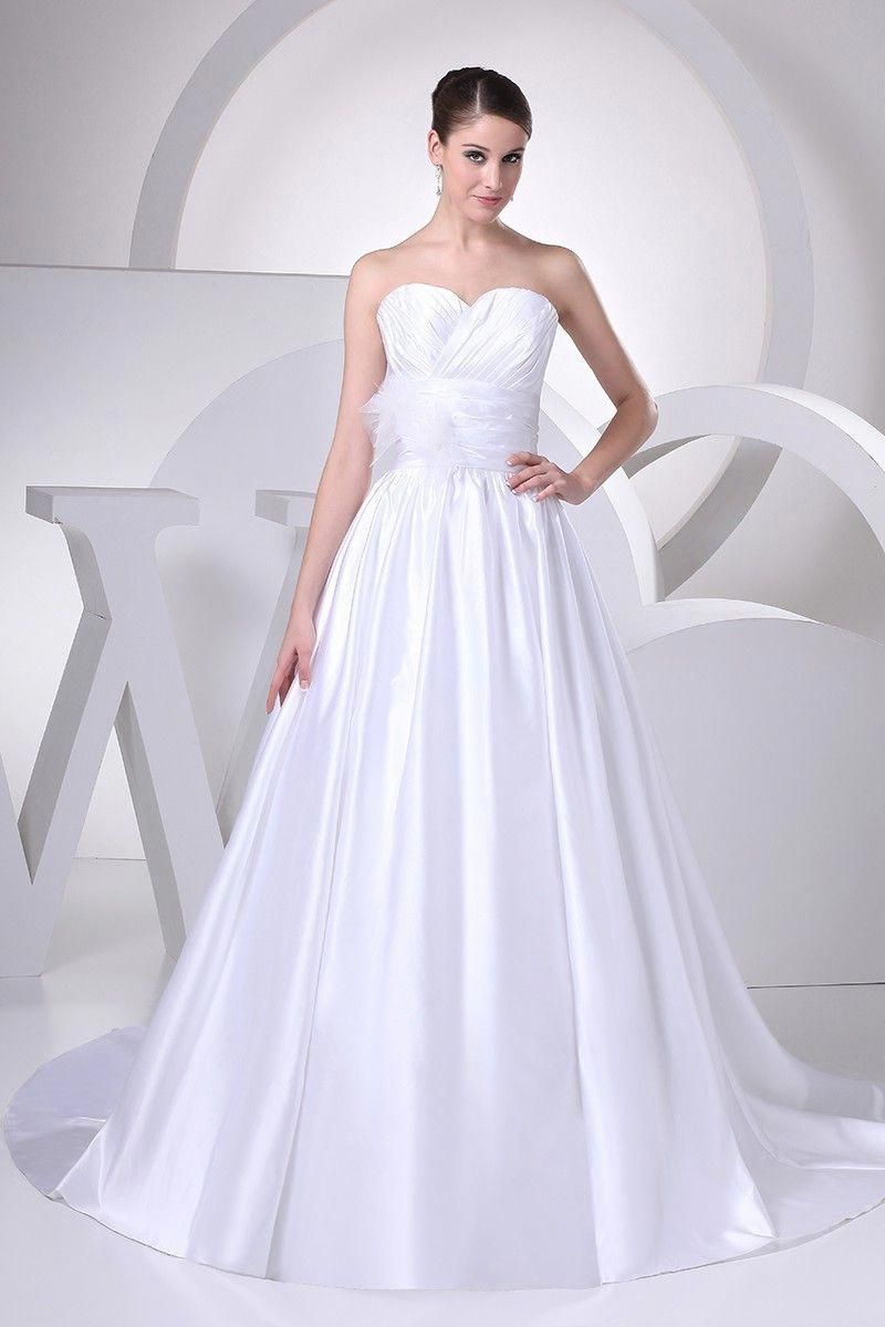 d21af81017a5 Simple A Line Sweetheart With Flower Pleated White Satin Wedding Dress  Bridal Gown #countryweddings