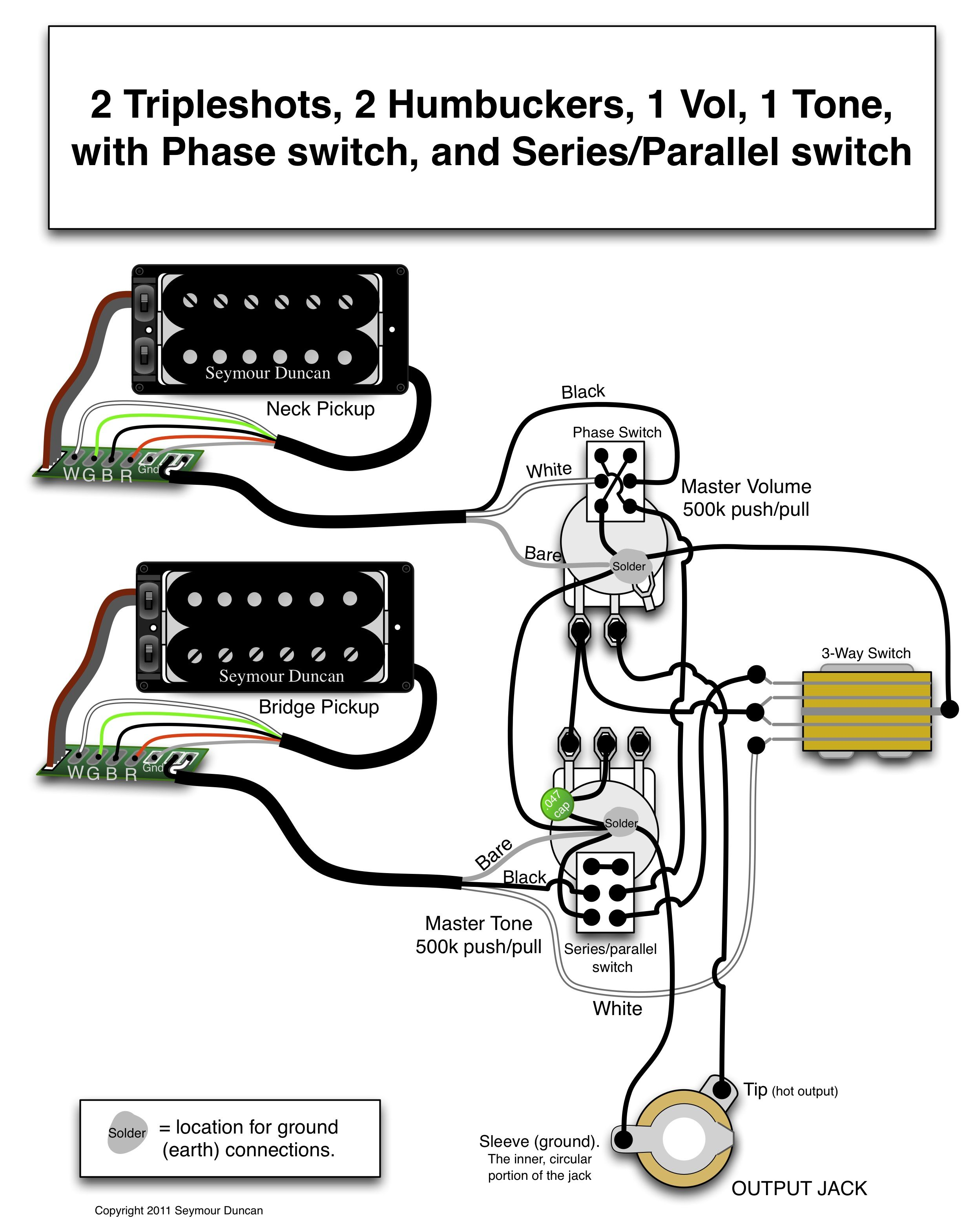 Seymour Duncan wiring diagram - 2 Triple Shots, 2 Humbuckers, 1 Vol with  Phase switch, 1 Tone with Series/Parallel switch