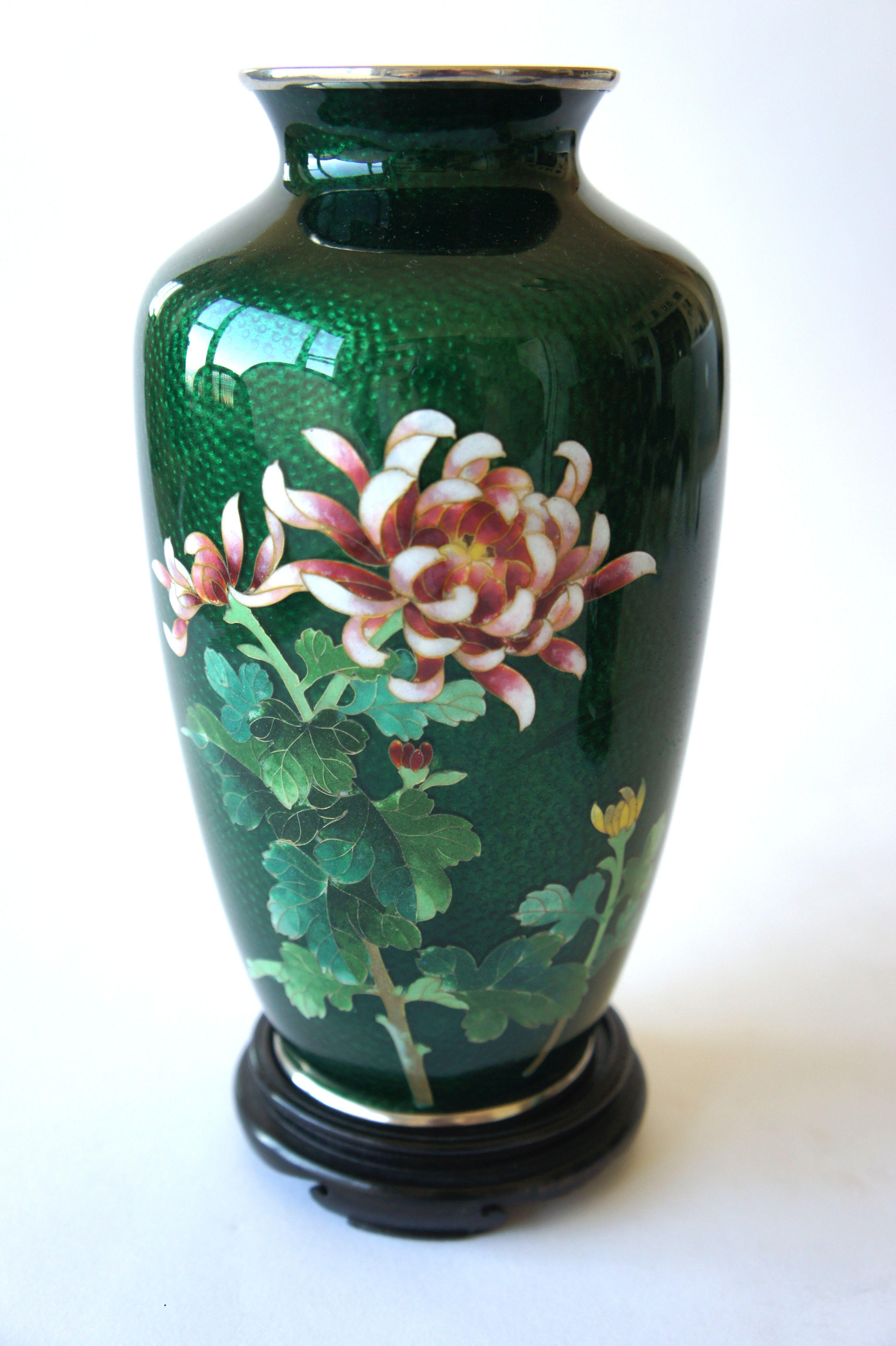 Flowers by post vase - Fine Ando Peony Botan Japanese Ikebana Green Cloisonne Flower Vase Japan Post 1940