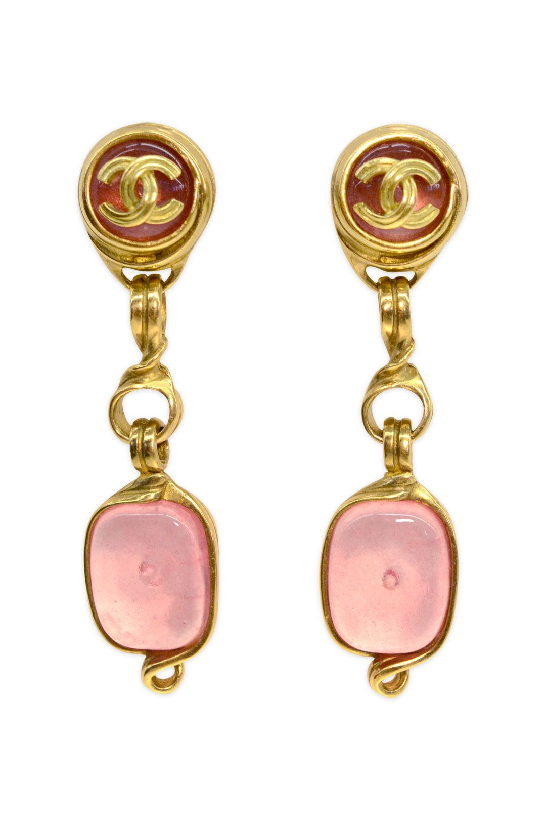 d0ae1b69002a03 WGACA Vintage Vintage Chanel Pink Gripoix Drop Earrings ...