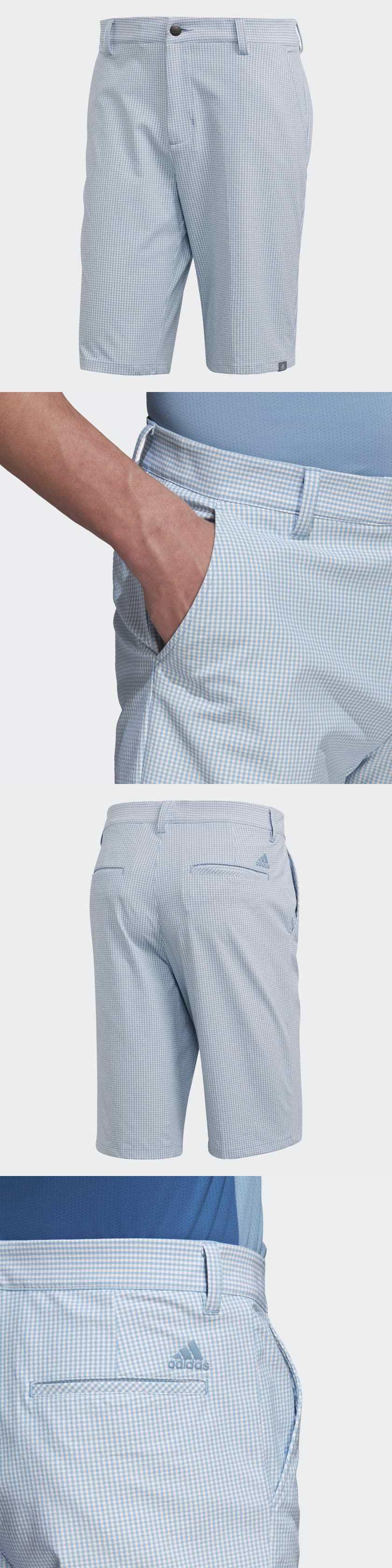 437900b53a31 Shorts 181139  Adidas Ultimate 365 Gingham Plaid Shorts (Ash Blue White) -