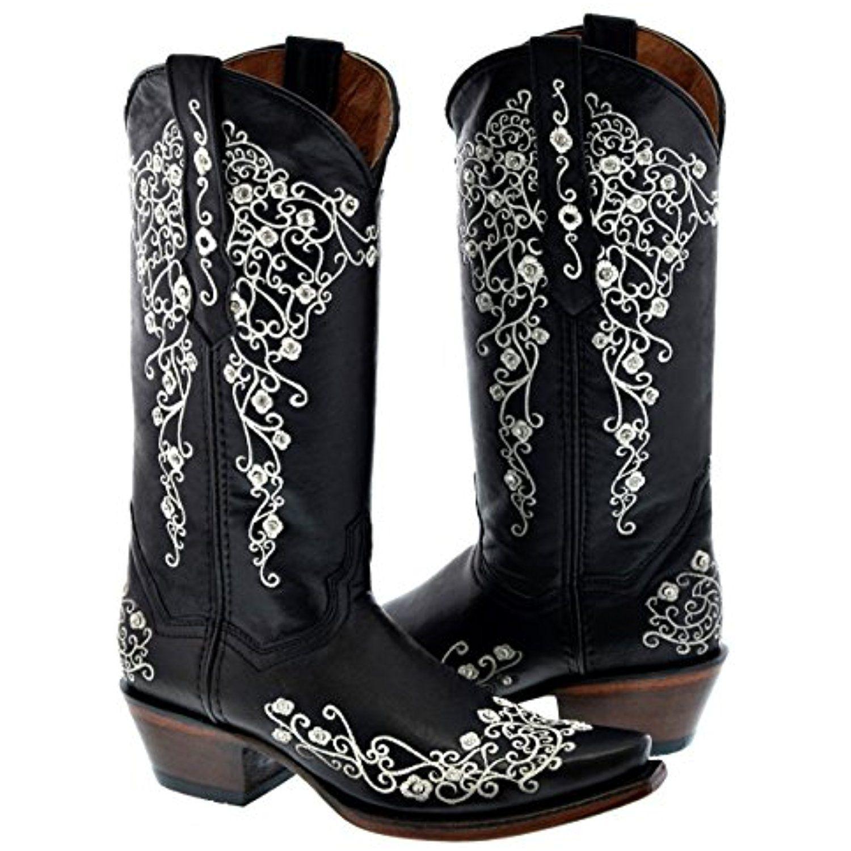 Women's Cowboy Boots Black Fancy