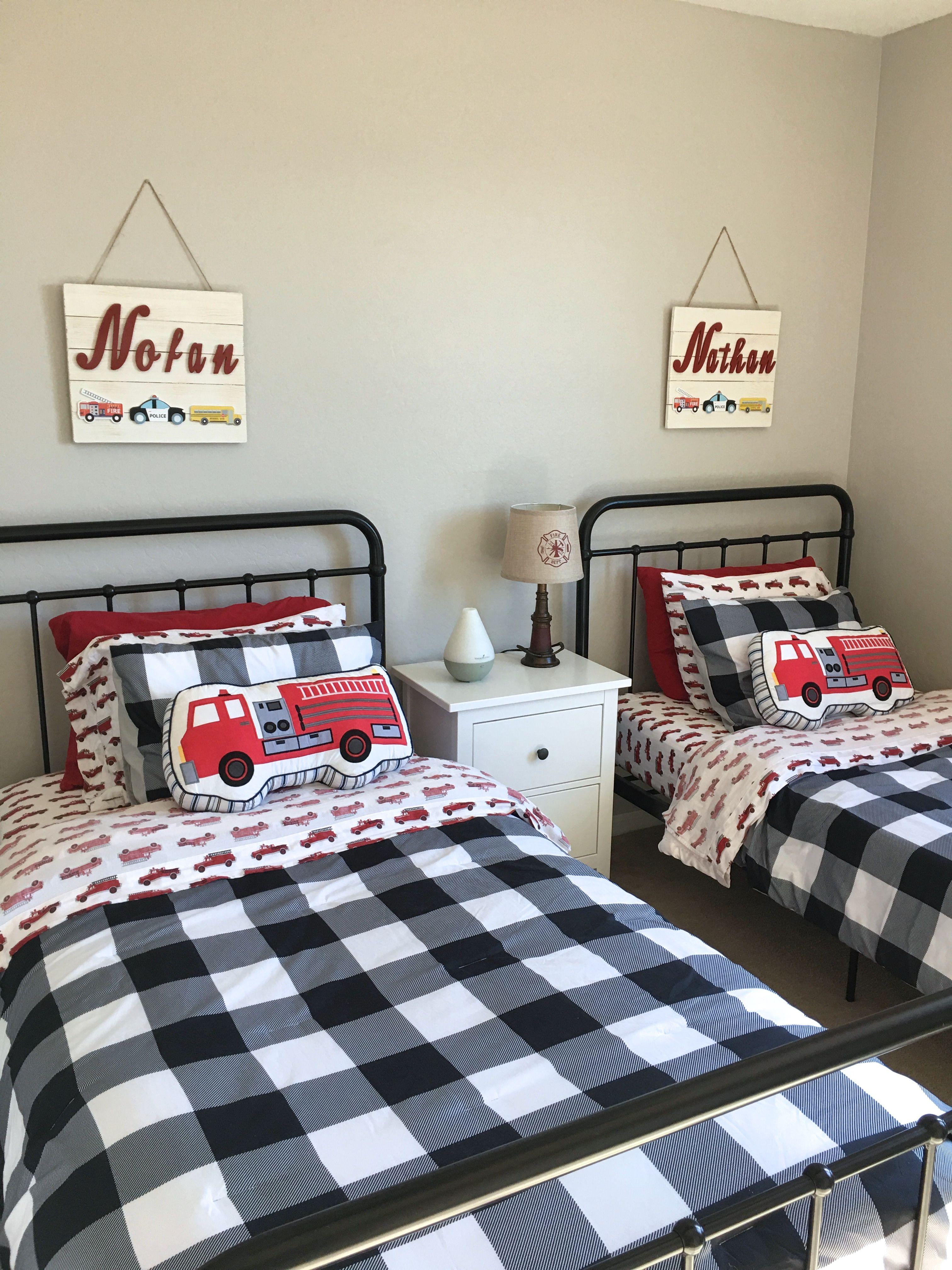Fire Truck Theme Boy S Bedroom Makeover Boys Bedroom Themes Boys Bedrooms Boy Toddler Bedroom