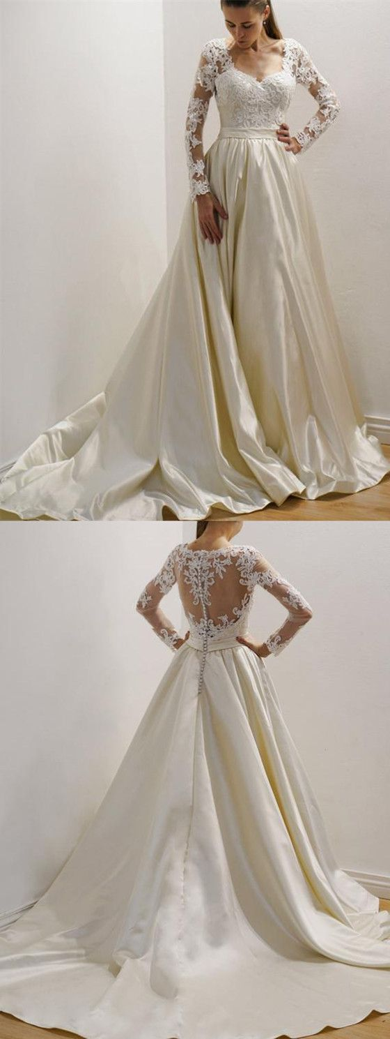 Gorgeous long sleeves lace top wedding gown custom made long
