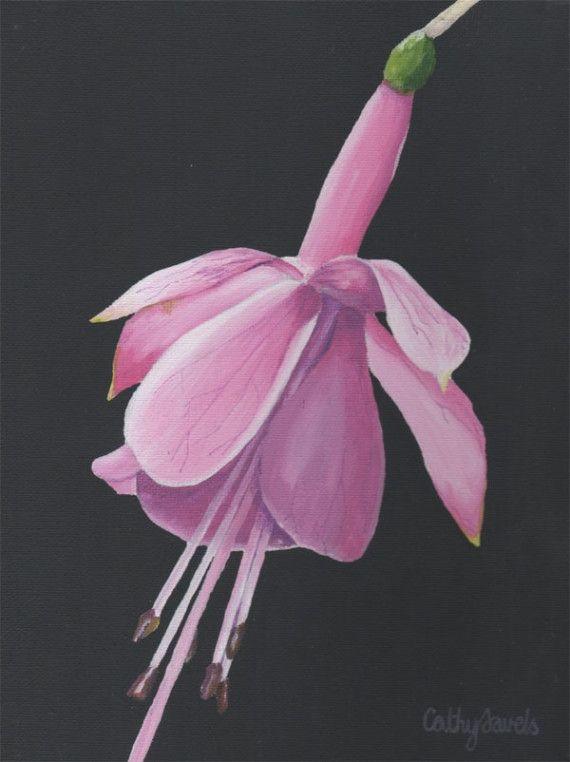 Fuchsia Flower Painting Original Acrylic Pink Wall Art Etsy Flower Painting Original Flower Painting Pink Wall Art