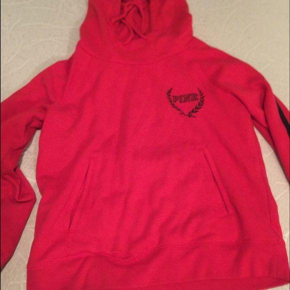 VS PINK, red hoodie Barely worn, cute and comfy! PINK Victoria's Secret Tops Sweatshirts & Hoodies