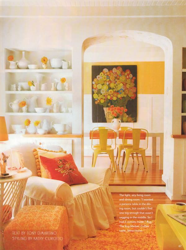Living Room Dining Room Pop With Color Orange Cream