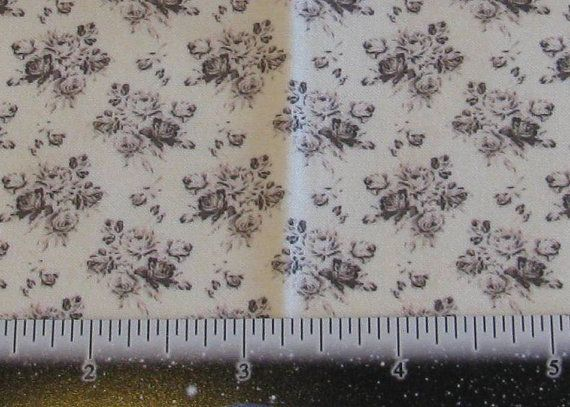 Dollhouse Miniature Shabby Chic UPHOLSTERY FABRIC Black Rose Bouquet On Cream 1 12th