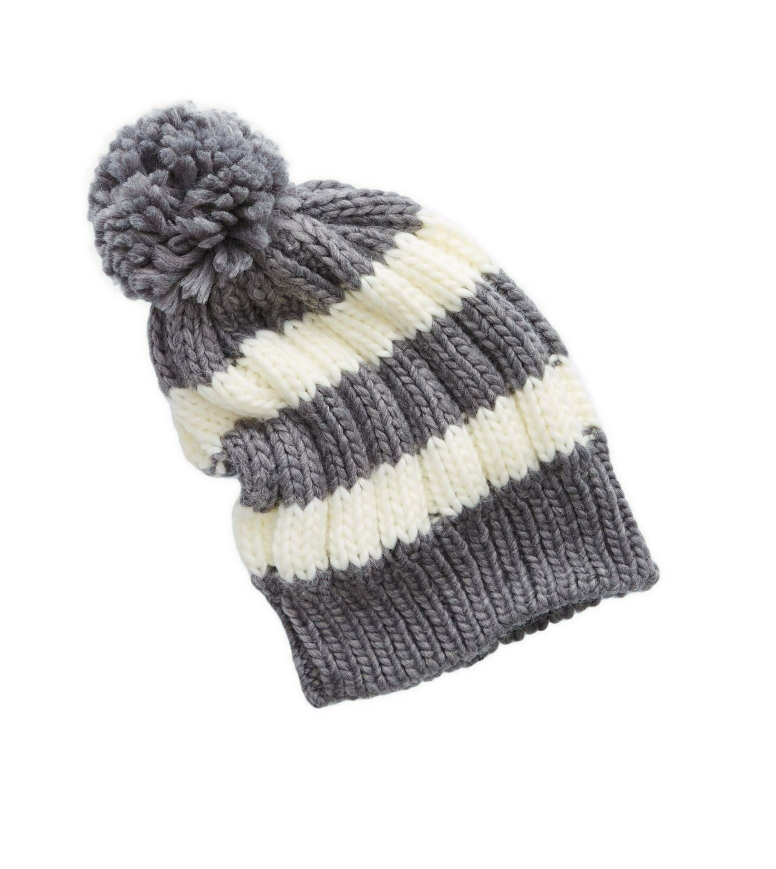 ac6e46c98 Dark Heather Grey Aerie Striped Pom Beanie - Top it off! #Aerie ...