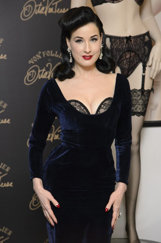 85ed61e87c63 Dita Von Teese attends a photocall to launch her new lingerie range at  Debenhams on November 28