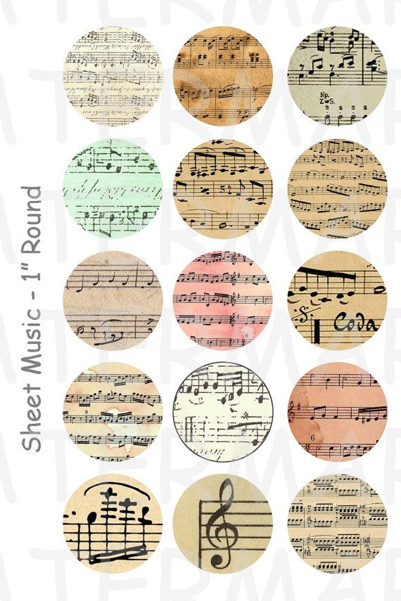 Sheet Music - 4 x 6 Digital Collage Sheet - 1 inch Round Circles - INSTANT DOWNLOAD