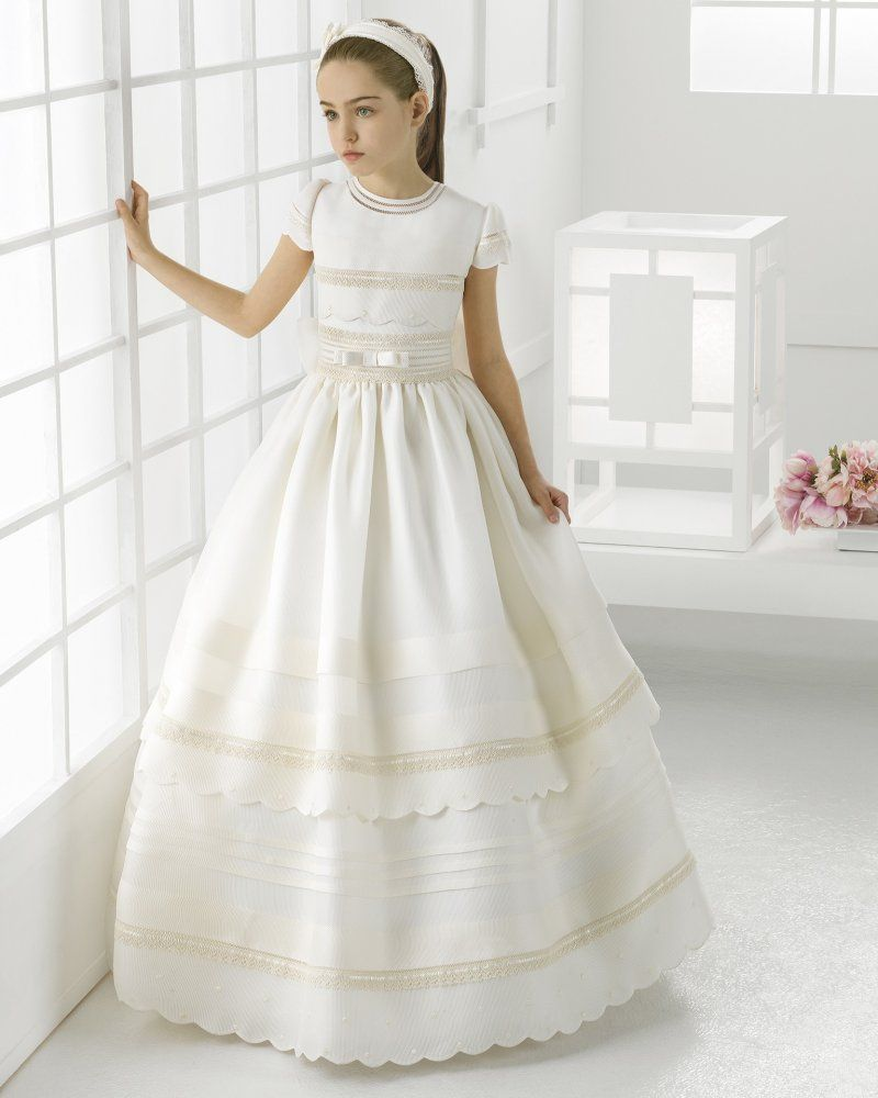 Jewel neck scallopped short sleeve ball gown oragzna first communion