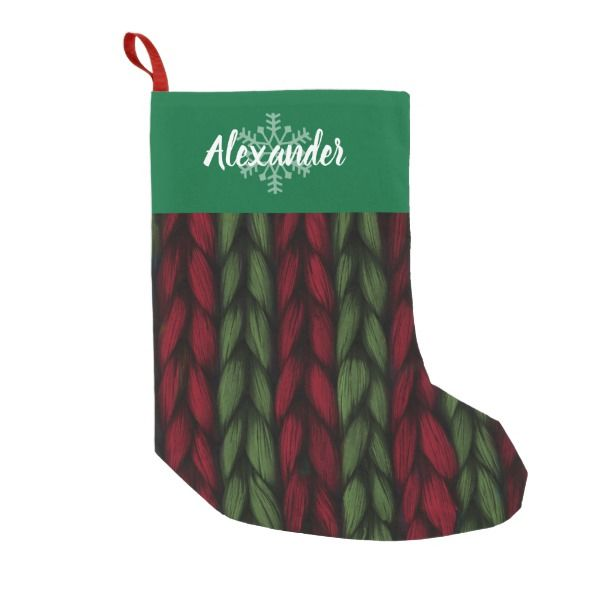 Christmas Name Green and Red Knit Pattern Small Christmas Stocking ...
