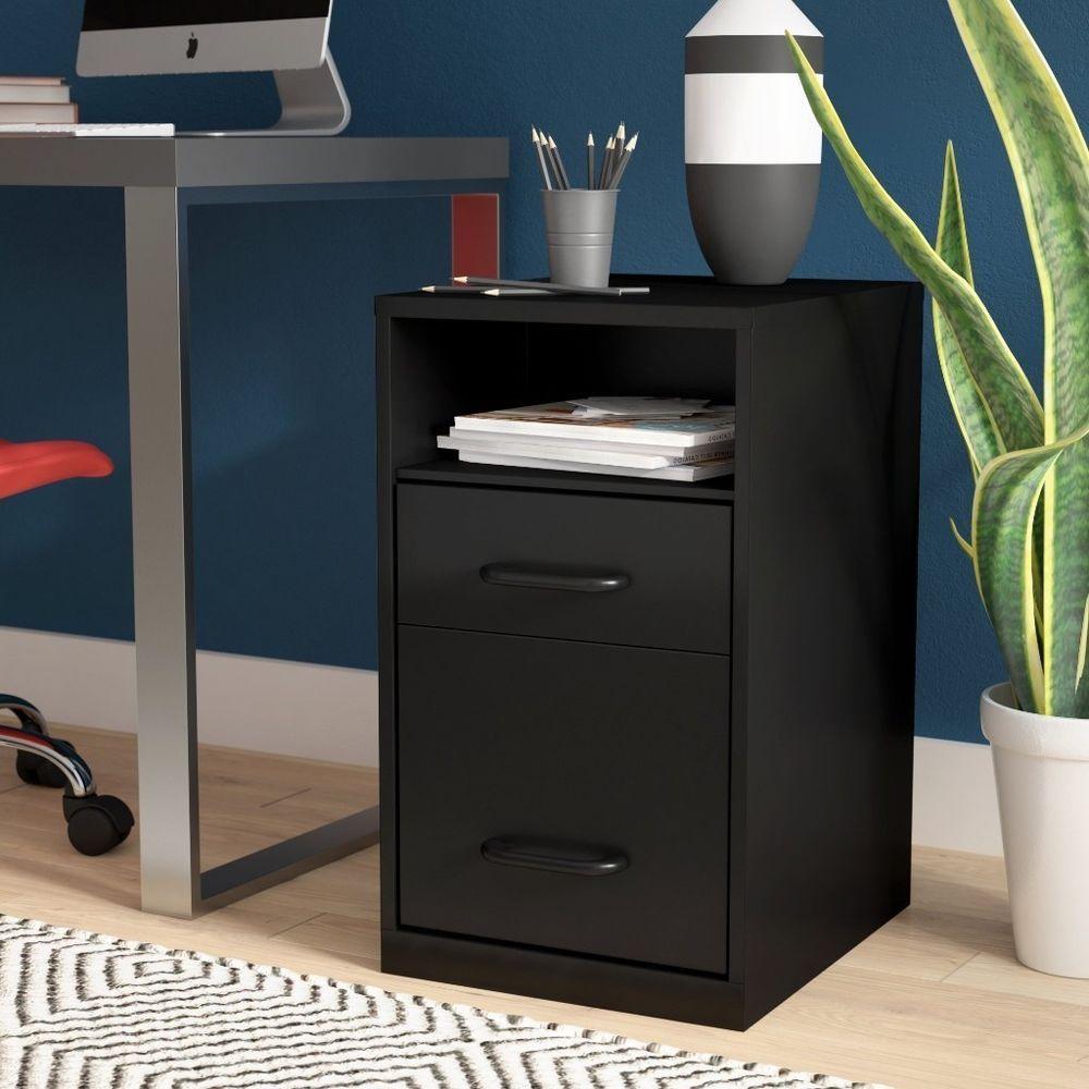 Under Desk File Cabinet Compact Filing 2 Drawer Open Shelf Printer Stand Black Rebrilliant Pc Desk Under Desk File Cabinet Home Office Furniture