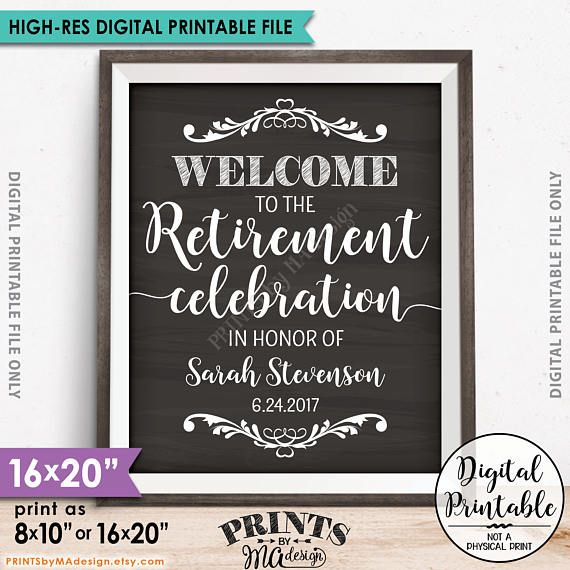 Retirement Party Sign, Welcome to the Retirement Celebration Sign