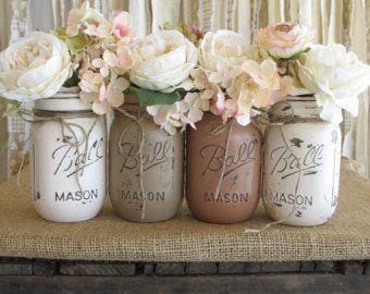 Decorated Mason Jars For Sale Sale Set Of 4 Pint Mason Jars Ball Jarsrusticglamdesigns