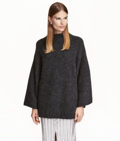 Black melange. Oversized sweater in soft knit fabric with mohair ...