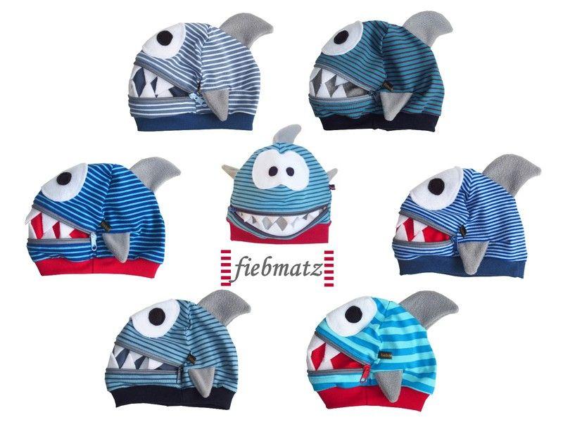 Mützen – Monster Freche MÜTZLI HAI Mütze – ein Designerstück von Fiebmatz be…