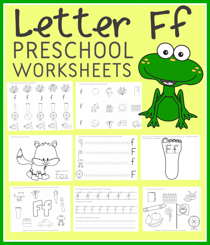 FREE LETTER F PRESCHOOL WORKSHEETS (Instant Download